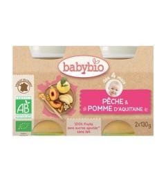 Babybio Petits Pots dès 4 mois Pêche Pomme 2x130 Grammes pas cher