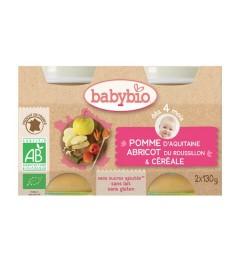 Babybio Petits Pots dès 4 mois Pomme Abricot Céréale 2x130 Grammes pas cher
