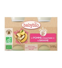 Babybio Petits Pots dès 4 mois Pots Pomme Banane 2x130 Grammes pas cher