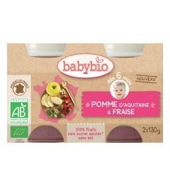 Babybio Petits Pots dès 6 mois Pots Pomme Fraise 2x130 Grammes pas cher