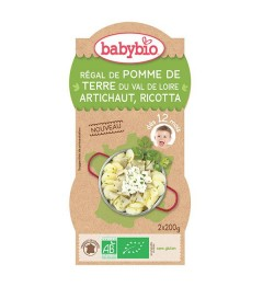 Babybio Mes Légumes dès 12 Mois Bols Pomme de Terre Artichaut Ricotta 2x200 Grammes pas cher