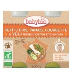 Babybio Menu du Jours dès 6 Mois Pot Petits Pois Panais Courgette Veau 2x200 Grammes pas cher