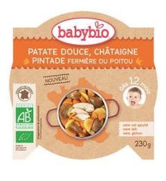 Babybio Menu du Jour dès 12 Mois Assiette Patate Douce Chataigne Pintade 230 Grammes pas cher