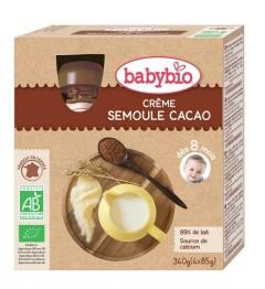 Babybio Gourde dès 8 mois Crème Semoule Cacao 4x85 Grammes pas cher