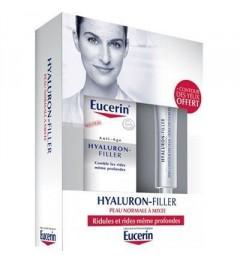 Eucerin Hyaluron Filler Soin Jour Peaux Normales à Mixtes 50Ml et Contour des Yeux 15Ml Offert pas cher