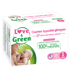 Love And Green Couches Hypoallergéniques Taille 1 2 à 5Kg Paquet de 23