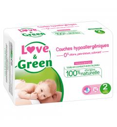 Love And Green Couches Hypoallergéniques Taille 2 3 à 6Kg Paquet de 36 pas cher