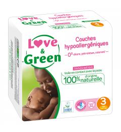 Love And Green Couches Hypoallergéniques Taille 3 4 à 9Kg Paquet de 52 pas cher