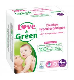 Love And Green Couches Hypoallergéniques Taille 4+ 9 à 20Kg Paquet de 42 pas cher