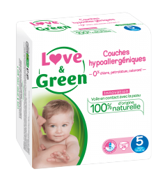 Love And Green Couches Hypoallergéniques Taille 5 11 à 25Kg Paquet de 40