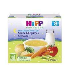 Hipp Soupe 6 Légumes Semoule 2x190 Grammes pas cher