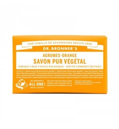 Dr Bronner's Pain de Savon Agrumes Orange 140G