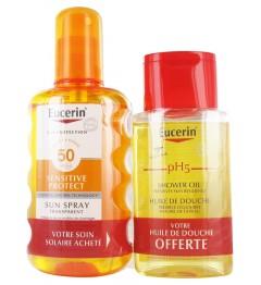 Eucerin Sun Coffret Spray SPF50 200Ml et Huile de Douche Offerte