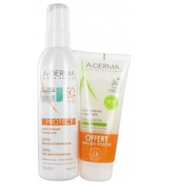 Aderma Solaire Protect Spray SPF50 200Ml et Gel Douche Hydra 100Ml