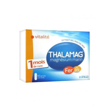 Thalamag Magnésium Marin Fer B9 60 Gélules pas cher